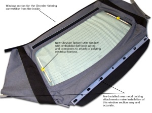 Chrsyler Sebring Convertible Top Window Section